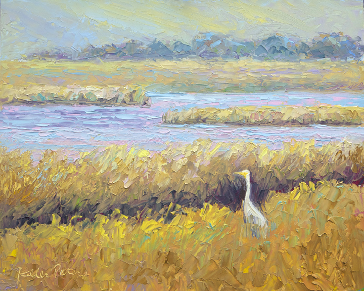 Egret, Tomales Bay, knife painting, impressionist painting, oil painting, Norther California, contemporary landscape painting,  landscape oil painting
