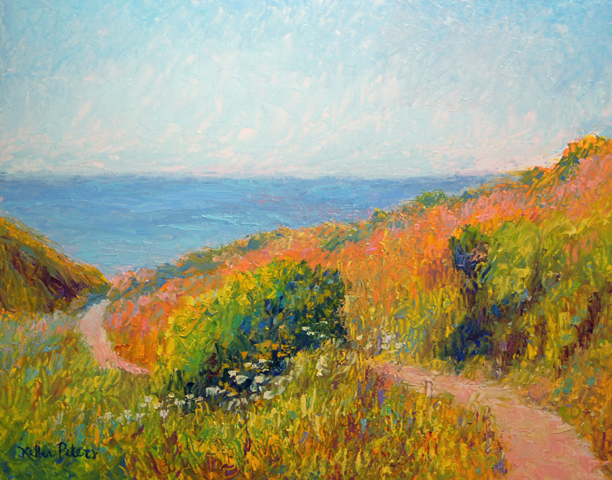 Beach path, Tomales Bay, knife painting, impressionist painting, oil painting, Northern California, contemporary landscape painting,  landscape oil painting