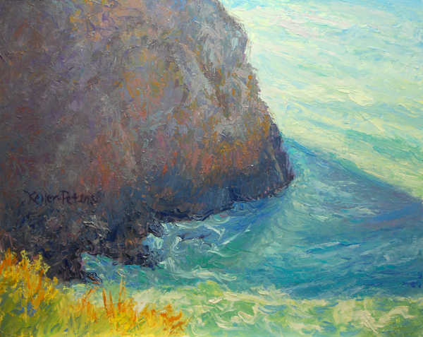 small oil painting of Goat Rock, Sonoma coast