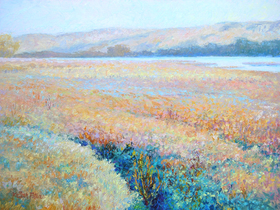 Oil painting of frosty field in Inverness, CA