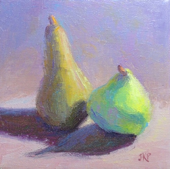 Oil painting of two pears